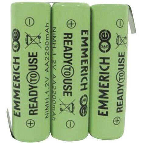 Pack de piles rechargeables 3x LR6 (AA) NiMH Emmerich 255066 3.6 V 2200 mAh A33788