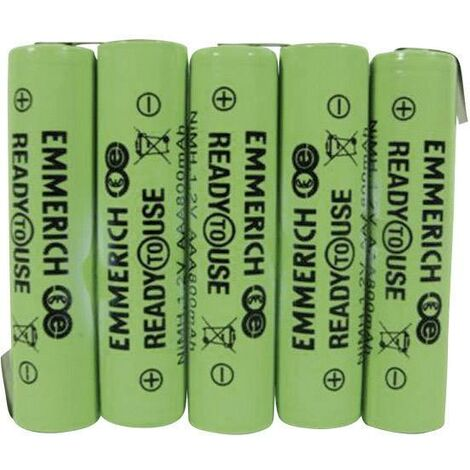 Pack de piles rechargeables 5x LR3 (AAA) NiMH Emmerich 255064 6 V 800 mAh A33781