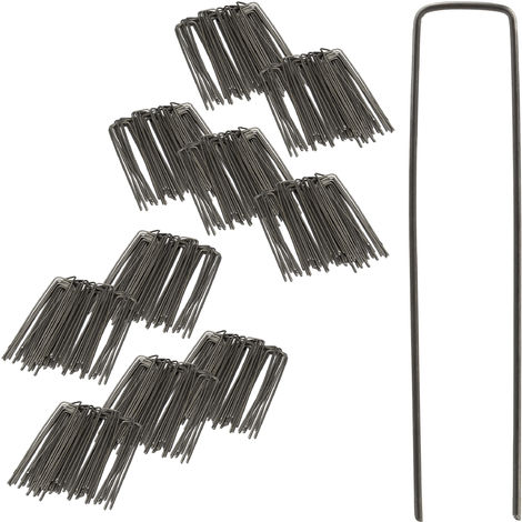 Pack de Piquetas Jardín en Forma de U, Acero, Plateado, 15 cm, 500 Unidades