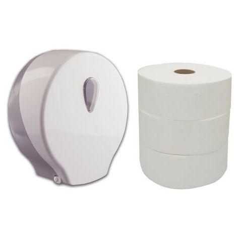Pack de portarrollos industrial modelo gota y 3 rollos de papel higiénico industrial