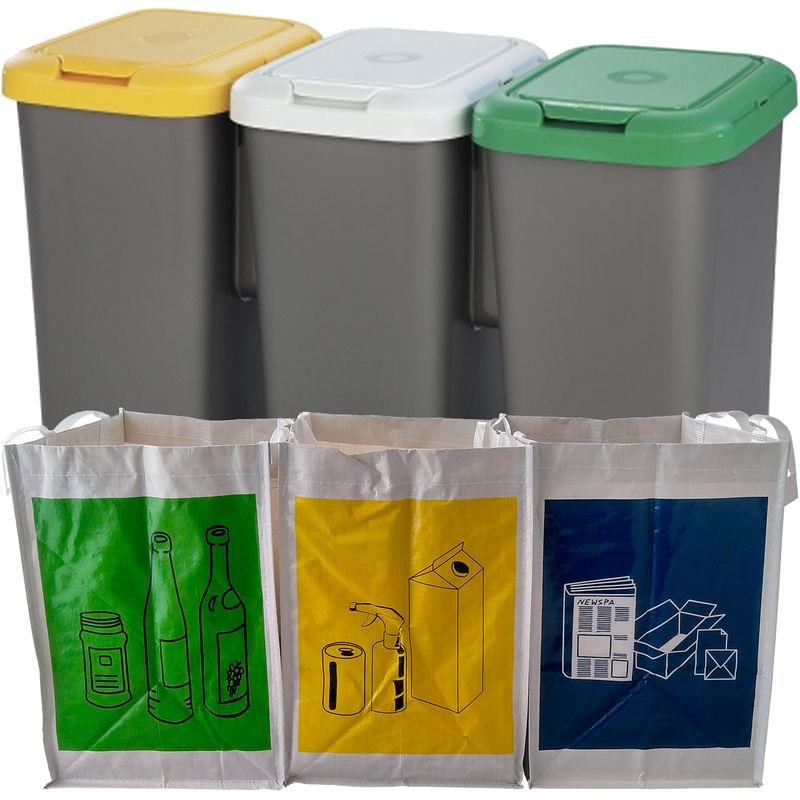 Pack de reciclaje de 3 papeleras de 3 depósitos y 3 bolsas de basura - SIN MARCA