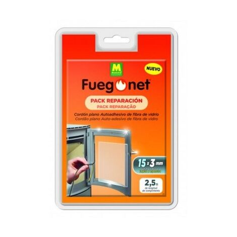 Pack de Reparación FUEGONET con Cordón Aislante y Pegamento. Repara Chimeneas, inserts, estufas y calderas. Plano. 15 x 3 x 2,5 mm + Ahesivo 50 ml