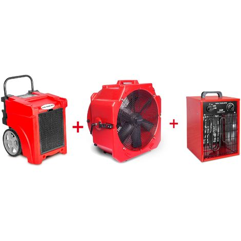 Pack Déshumidificateur mobile industriel 50 l/jour PE + Ventilateur mobile 2 vitesses 500 mm + Générateur d'air chaud électrique 3,3 kW MW-Tools BDE50SETAH