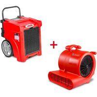 Pack Déshumidificateur mobile industriel 50 l/jour PE + Ventilateur sécheur 250 w MW-Tools BDE50SETR