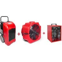 Pack Déshumidificateur mobile industriel 70 l/jour PE + Ventilateur mobile 2 vitesses 500 mm + Générateur d'air chaud électrique 3,3 kW MW-Tools BDE70SETAH