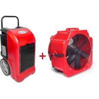 Pack Déshumidificateur mobile industriel 70 l/jour PE + Ventilateur mobile 2 vitesses 500 mm MW-Tools BDE70SETA