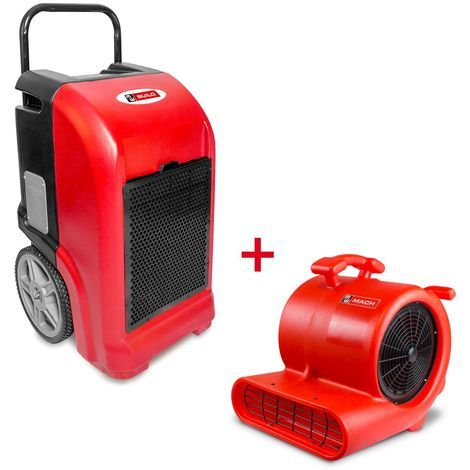 Pack Déshumidificateur mobile industriel 70 l/jour PE + Ventilateur sécheur 250 w MW-Tools BDE70SETR