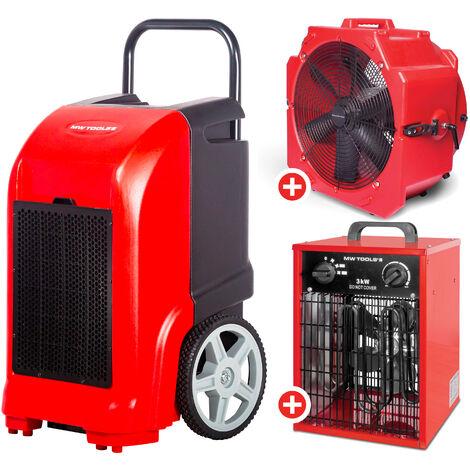 Pack Déshumidificateur mobile industriel 70 l/jour + Ventilateur brasseur mobile 600 mm 190 W + Générateur d'air chaud électrique 3,3 kW MW-Tools BD70PSETAH