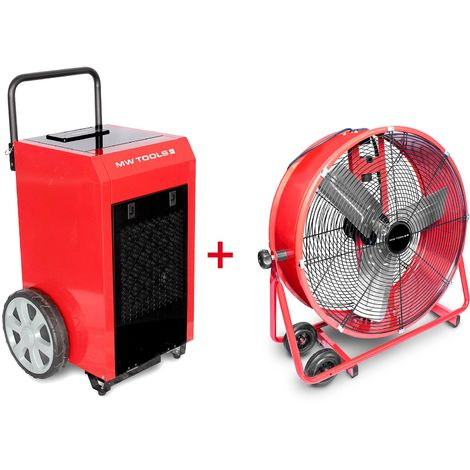 Pack Déshumidificateur mobile industriel 70 l/jour + Ventilateur brasseur mobile 600 mm 190 W MW-Tools BD70PSETA