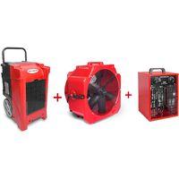 Pack Déshumidificateur mobile industriel 90 l/jour PE + Ventilateur mobile 2 vitesses 500 mm + Générateur d'air chaud électrique 3,3 kW MW-Tools BDE90SETAH