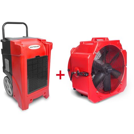 Pack Déshumidificateur mobile industriel 90 l/jour PE + Ventilateur mobile 2 vitesses 500 mm MW-Tools BDE90SETA