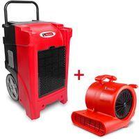 Pack Déshumidificateur mobile industriel 90 l/jour PE + Ventilateur sécheur 250 w MW-Tools BDE90SETR