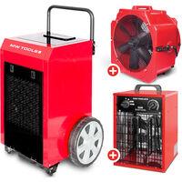Pack Déshumidificateur mobile industriel 90 l/jour + Ventilateur brasseur mobile 600 mm 190 W + Générateur d'air chaud électrique 3,3 kW MW-Tools BD90PSETAH