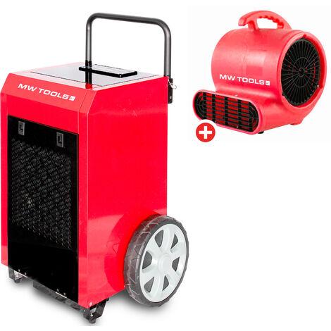 Pack Déshumidificateur mobile industriel 90 l/jour + Ventilateur sécheur 250 w MW-Tools BDM90SETR