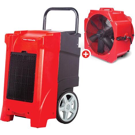 Pack Déshumidificateur PE mobile industriel 85 l/jour + Ventilateur brasseur portable 500 mm 200 W MW-Tools BDE85SETA