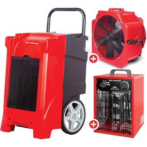 Pack Déshumidificateur PE mobile industriel 85 l/jour + Ventilateur portable 500 mm 200 W + Chauffage électrique 3,3 kW MW-Tools BDE85SETAH
