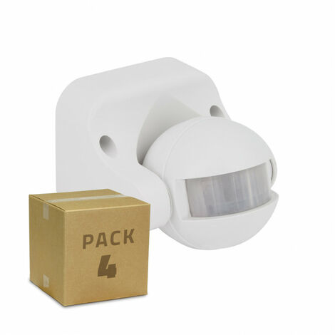 Pack Detector de Movimiento PIR 180º Superficie (4 Un) Blanco