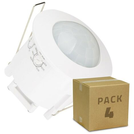 Pack Detector de Movimiento PIR 360º Empotrable (4 Un) Blanco