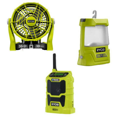 Pack detente RYOBI ventilateur 2 vitesses 18V OnePlus R18F-0 - radio bluetooth AM/FM R18R-0 - Lanterne LED R18ALU-0 sans batterie ni chargeur - vert