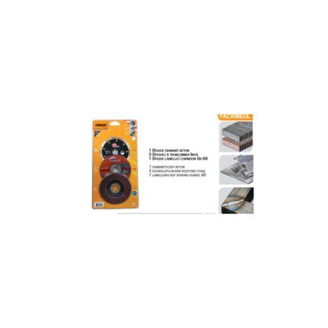 pack disques meuleuse 115 mm béton - inox - métal