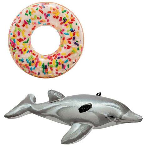 Pack Donut Inflable Boya inflable con copos de azúcar 114 cm de diámetro - Colchón inflable de playa para delfines 17