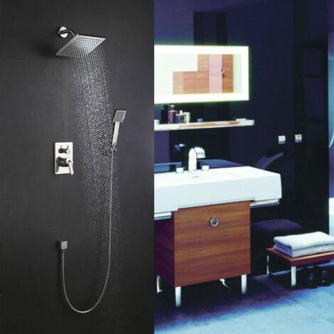 Pack douche à encastré avec mitigeur 2 fonctions en nickel brossé