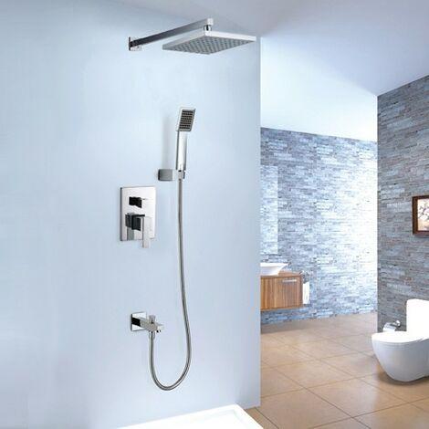 Pack douche à encastré chromé avec bec verseur et douchette
