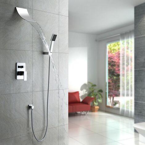 Pack douche à encastré effet cascade et finition en chromé avec douchette