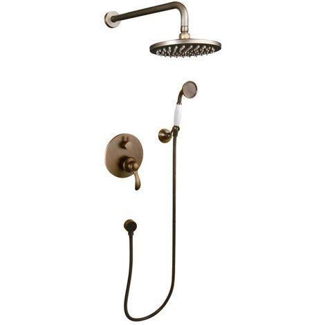 Pack douche à encastré en bronze style rétro