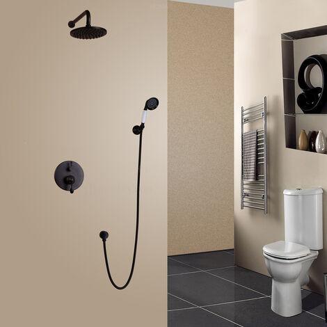 Pack douche à encastré sous forme de pluie ronde en antique noir