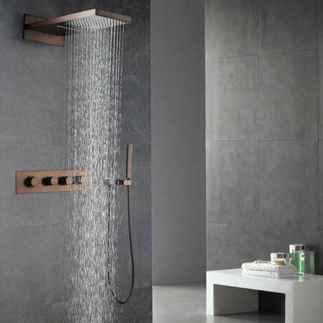 Pack douche à encastré thermostatique avec finition en cuivré et effet pluie