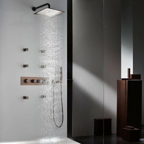 Pack douche à encastré thermostatique finition cuivré avec jets de pulvérisation corporelle