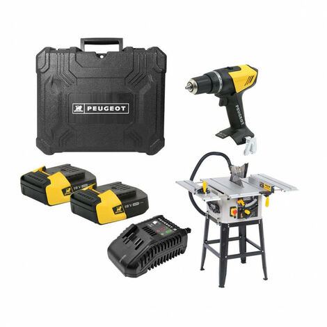 Pack drill and table saw PEUGEOT ENERGYDRILL-18V20 - 2 battery 18V 2.0 Ah - 1 charger - ENERGYSAW-254B2 250312-132001
