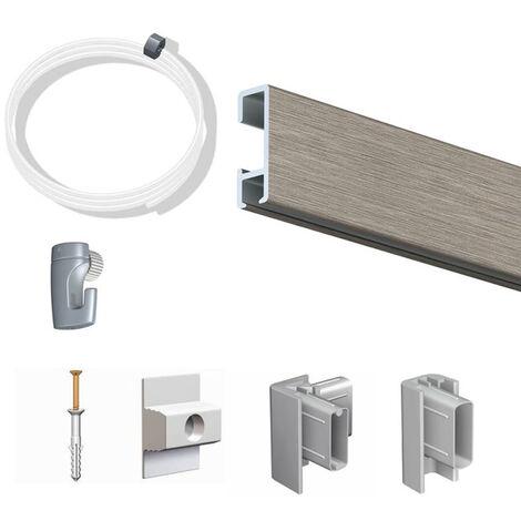 Pack Eco 1 mètre de cimaise Click Rail couleur Aluminium - Solution suspension cadres et tableaux - Rail en aluminium se coupe avec une scie à métaux - 2 embouts Click Rail Artiteq - Rail en aluminium se coupe avec une scie à métaux