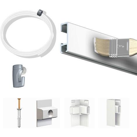 Pack Eco 10 mètres de cimaise Click Rail couleur Blanc (peut être peint) - Solution suspension cadres et tableaux - Rail en aluminium se coupe avec une scie à métaux - 8,5 mm - Rail en aluminium se coupe avec une scie à métaux