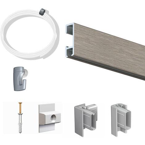 Pack Eco 2 mètres de cimaise Click Rail couleur Aluminium - Solution suspension cadres et tableaux - Rail en aluminium se coupe avec une scie à métaux - 2 embouts Click Rail Artiteq - Rail en aluminium se coupe avec une scie à métaux