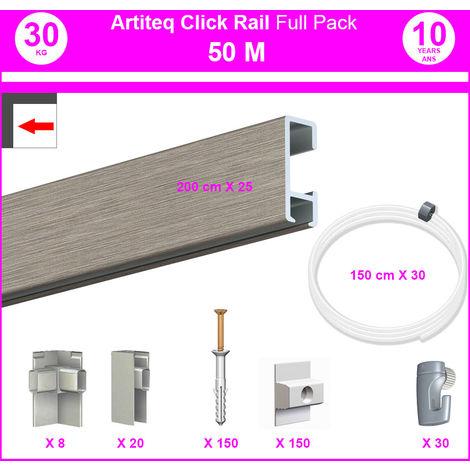 Pack Eco 50 m : cimaise Click Rail - 8,5 mm