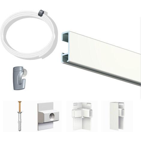 Pack Eco 6 mètres de cimaise Click Rail couleur Blanc laqué (RAL9010) - Solution suspension cadres et tableaux - Rail en aluminium se coupe avec une scie à métaux - 8,5 mm - Rail en aluminium se coupe avec une scie à métaux