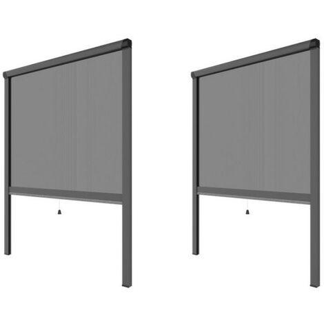 PACK ECO de 2 moustiquaires alu H145 cm x L130 cm Gris - Gris