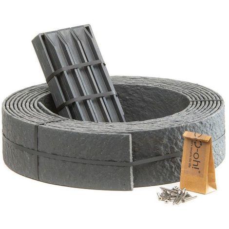 Pack Ecolat bordure de jardin rouleau 12 m + 10 ECOPIC - Gris - Gris
