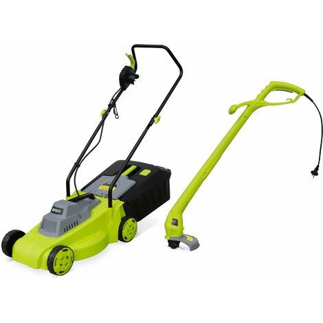 Pack électrique VOLTR, tondeuse à gazon ⌀32cm 1300W + débroussailleuse ⌀22cm 250W