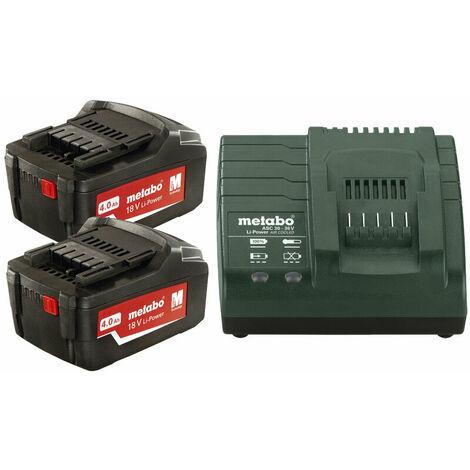 Pack énergie 18V METABO - Pack 2 Batteries 18 volts + chargeur rapide 2 x 4,0 Ah Li-Power, ASC 55, coffret - 685050000