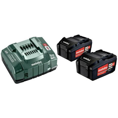 Pack énergie 18V METABO - Pack 2 Batteries 18 volts + chargeur rapide 2 x 5,2 Ah Li-Power, ASC 145, coffret - 685051000