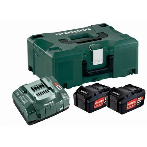 Pack énergie 18V METABO - Pack 2 Batteries 18 volts + chargeur rapide 2 x 5,2 Ah Li-Power, ASC 145, coffret Metaloc - 685065000