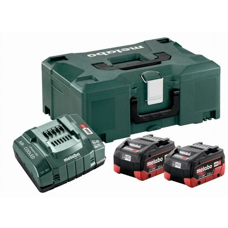 Pack énergie 18V METABO - Pack 2 Batteries 18 volts LiHD + Chargeur ultra rapide 2 x 5,5 Ah LiHD, ASC 145, coffret Metaloc - 685077000