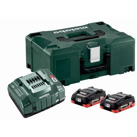 Pack énergie 18V METABO - Pack 2 Batteries 18 volts LiHD + Chargeur ultra rapide 2 x4,0Ah LiHD, ASC 145, coffret Metaloc - 685130000