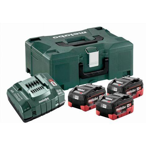 Pack énergie 18V METABO - Pack 3 Batteries 18 volts LiHD + Chargeur rapide 3 x 5,5 Ah LiHD, ASC 145, coffret Metaloc - 685069000