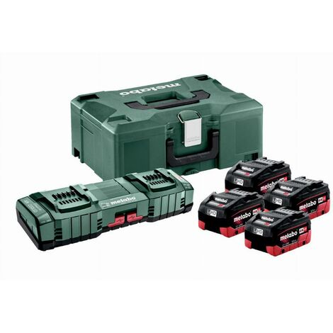 Pack énergie 18V METABO - Pack 4 Batteries 18 volts LIHD + Chargeur duo ultra rapide 4 x 5,5 Ah LiHD, ASC 145 duo, coffret Metaloc - 685180000
