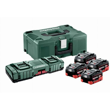 Pack énergie 18V METABO - Pack 4 Batteries 18 volts LIHD + Chargeur duo ultra rapide 4 x 8,0 Ah LiHD, ASC 145 duo, coffret Metaloc - 685135000