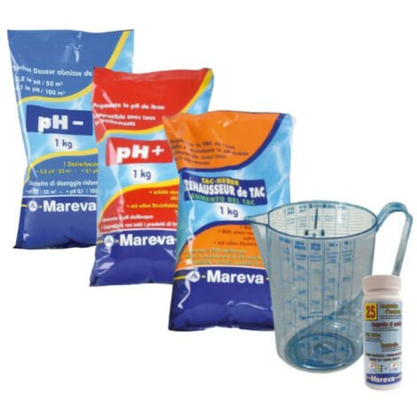Pack équilibrage MAREVA pour eau de piscine - Réducteur et Réhausseur de pH - Réhausseur de TAC - Languettes Revacil - Pichet doseur